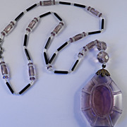 1920s Vintage Bead Amethyst Glass Pendant Lavaliere Necklace