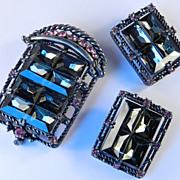 Sarah Coventry Midnight Magic Rhinestone Brooch Pin Pendant Earrings Demi Parure Set