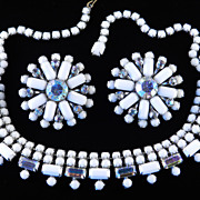 Weiss Milk Glass Rhinestone Necklace Earrings Demi Parure Set