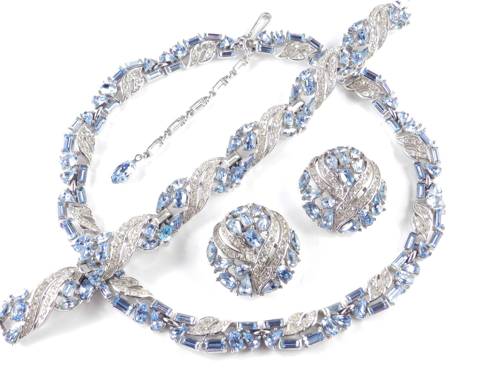 Trifari Rhinestone Necklace Bracelet Earrings Parure Set  Rhodium Plate