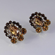 Juliana Rhinestone Art Glass Earrings