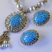 Rhinestone Faux Turquoise Faux Pearl Necklace Earrings Demi Parure Set