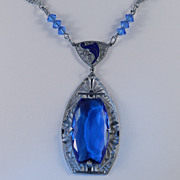 Art Deco Chromium Filigree Blue Glass Stone / Beads / Enamel Necklace