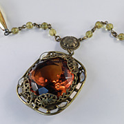 Art Nouveau Czechoslovakia Topaz Glass Brass Enamel Bead Pendant Necklace