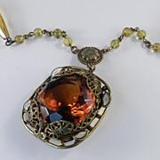 Art Nouveau Czechoslovakia Topaz Glass Brass Enamel Bead Pendant Necklace