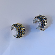 Jomaz Mazer Rhinestone Faux Sapphire Crescent Shell Earrings