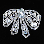 Eisenberg Original Sterling Silver Rhinestone Bow Brooch Pin w/ Box