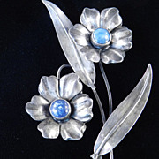 Art Moderne Sterling Silver Sodalite Floral Brooch Pin