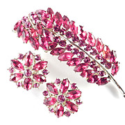 Weiss Red Rhinestone Leaf Feather Brooch Pin Earrings Demi Parure Set