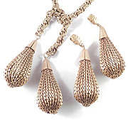 1940s Vintage Lariat Necklace Earrings Set Pierced Pleated Metal Dangles