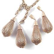 1940s Vintage Lariat Necklace Earrings Set Pierced Pleated Metal Dangles