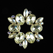 Vintage Rhinestone Frosted Cabochon  Brooch Pin