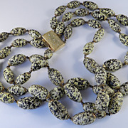 Vintage Triple Row Speckled Glass Pebble Bead Necklace Rhinestone Clasp