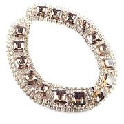 1960s Vintage Wide Rhinestone Collar Necklace