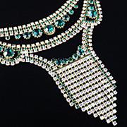 Vintage Rhinestone Fringed Bib Necklace