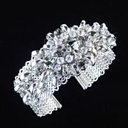 Vintage Wide Mesh Rhinestone Cuff Bracelet