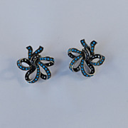 Vintage Sterling Marcasite Faux Persian Turquoise Bead Bow Earrings