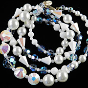 Vendome Coro Crystal Glass Faux Pearl Bead Necklace