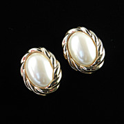 Vintage Givenchy Faux Pearl Cabochon Earrings