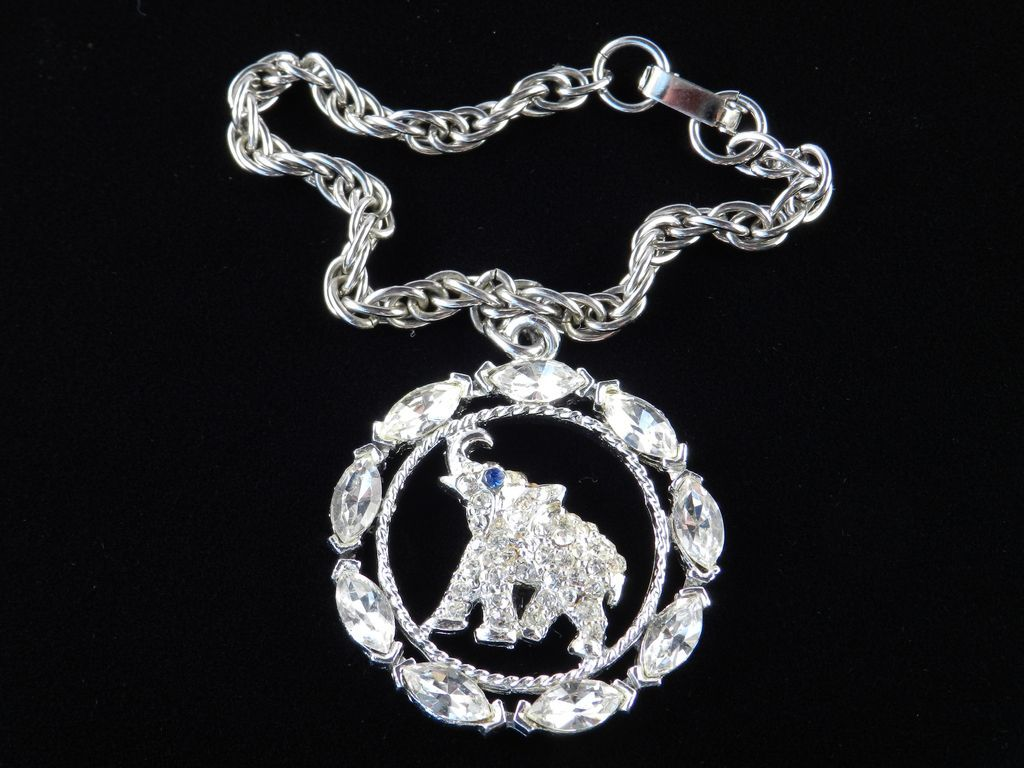 vintage oleet rhinestone elephant charm bracelet from