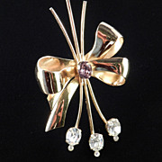 Coro Rhinestone Bow Brooch Pin