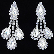 Vintage Rhinestone Dangle Pendant Chandelier Earrings
