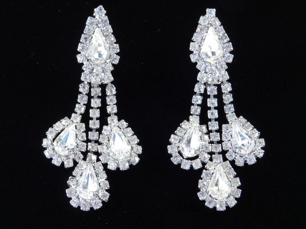vintage rhinestone dangle pendant chandelier earrings from
