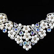 Vintage Rhinestone Faux Pearl Bib Necklace