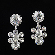 Vintage Rhinestone Dangle Earrings Big Dentelle Stones
