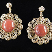 Vintage Glass Faux Carnelian Cabochon Flamenco Pendant Earrings