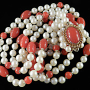 Vintage Glass Faux Pearl Faux Carnelian Triple Strand Bead Necklace