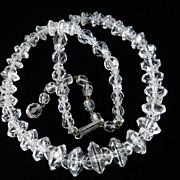 Vintage Crystal Glass Disk Bead Necklace
