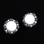 Hobe Milk Glass Cabochon Black Squash Bead Earrings