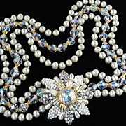 Baroque Glass Faux Pearl Rhinestone Crystal Bead Necklace