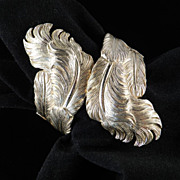 Vintage Feather Plume Wide Clamper Cuff Bracelet