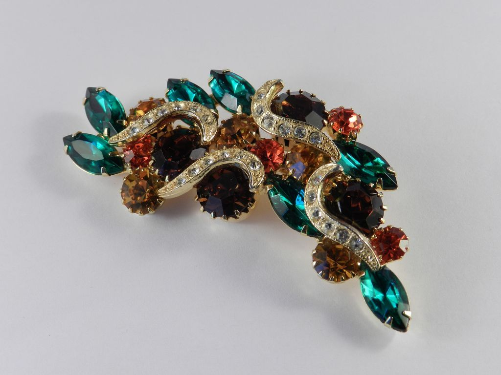 Monte Rio Ca >> Vintage Huge Multi Color Rhinestone Crescent Brooch Pin from codysvintagejewelry on Ruby Lane