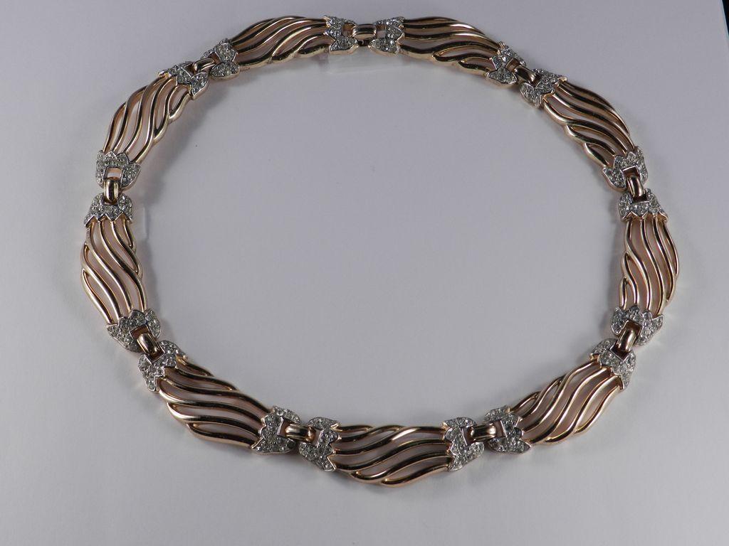 Trifari Alfred Philippe Pat. Pend Rhinestone Link Necklace
