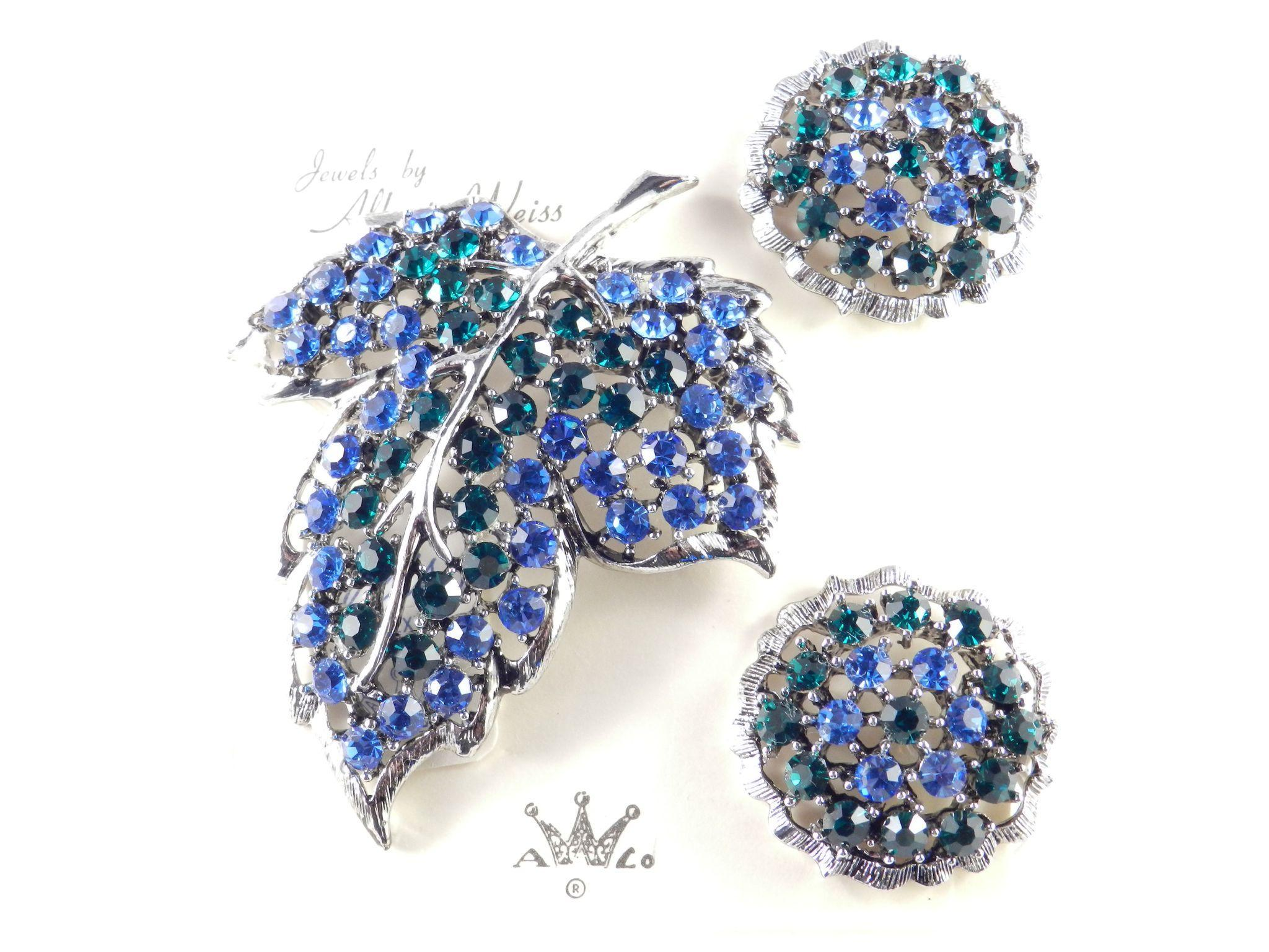 Albert Weiss Rhinestone Leaf Brooch Pin Earrings Set Demi Parure Original Card / Tags