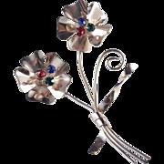 "Coro 4 1/4""  Sterling Silver Vermeil Rhinestone Brooch Pin"