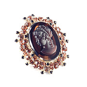 Juliana D & E Rhinestone Art Glass Cameo Brooch Pin Pendant Delizza Elster