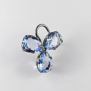 Cini Sterling Silver Art Glass Rhinestone Brooch Pin Pendant