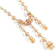Deco Art Glass / Barrel Bead Triple Dangle Necklace