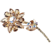 Juliana DeLizza & Elster Rhinestone Flower Brooch Pin