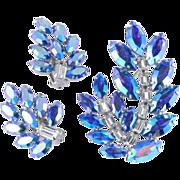 B. David Rhinestone Brooch Pin Earrings Demi Parure Set