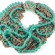 Sandor Peking Glass Bead Necklace Faux Green Jade Multi Strand