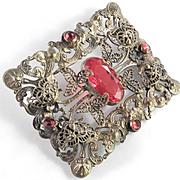 Edwardian Large Sash Pin Brass & Red Glass Stone Brooch Circa 1910