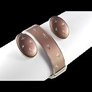 Whiting Davis Satin Finished Bright Cut Hinged Cuff Bracelet Earrings Demi Parure Set