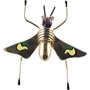Coro Sterling Silver Vermeil Enamel Insect Bug Brooch Pin