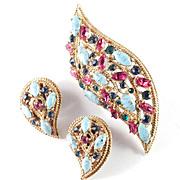Capri Rhinestone Faux Turquoise Brooch Pin Earrings Set Demi Parure
