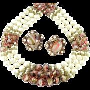 Hobe Givre Glass Bead Necklace Earrings Demi Parure Set